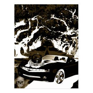 car  pumpkin n shadow postcard