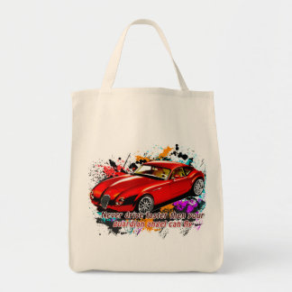 Car Race Grocery Tote Bag