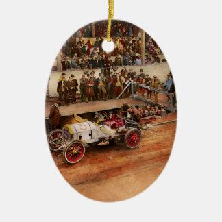 Car Race - Racing to get gas 1908 Ceramic Ornament
