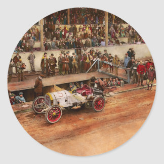 Car Race - Racing to get gas 1908 Classic Round Sticker