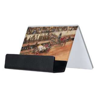 Car Race - Racing to get gas 1908 Desk Business Card Holder
