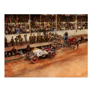 Car Race - Racing to get gas 1908 Postcard