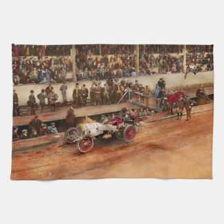 Car Race - Racing to get gas 1908 Tea Towel