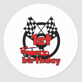 Car Racing 1st Birthday Classic Round Sticker