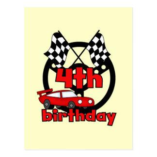 Car Racing 4th Birthday Tshirts and Gifts Postcard