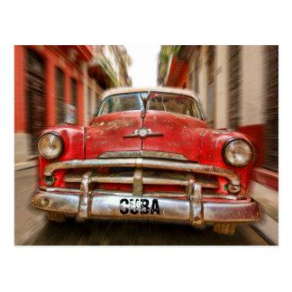 "Car ""racing"" in the streets of old Havana, Cuba Postcard"