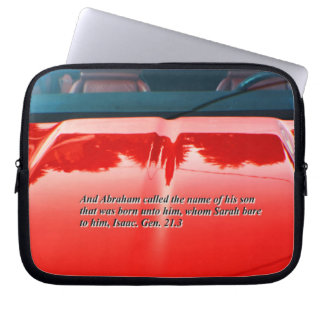 Car reflection with text laptop sleeve
