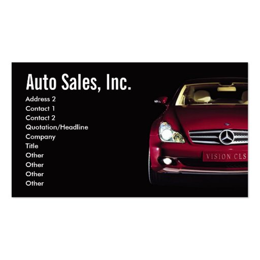 car sales business cards zazzle. Black Bedroom Furniture Sets. Home Design Ideas