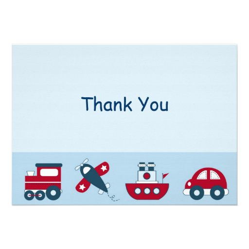 Car Train Airplane Boat Thank You Note Cards Invite