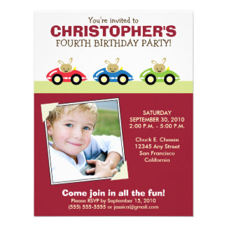 Car Trio Boy s Maroon Birthday Party Invitation