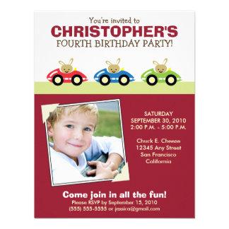 Car Trio Boy's Maroon Birthday Party Invitation