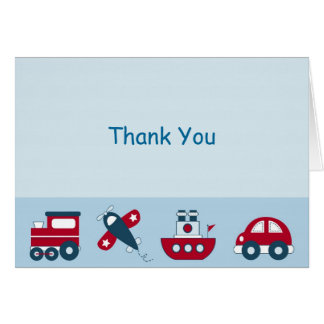 Car Truck Boat Airplane Thank You Note Cards