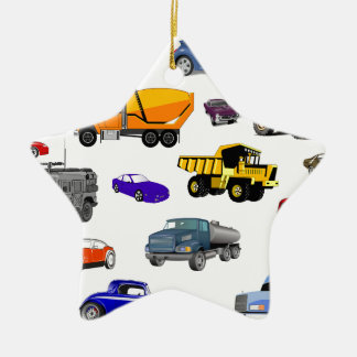 car truck firetruck bulldozer bus race cars more ceramic star decoration