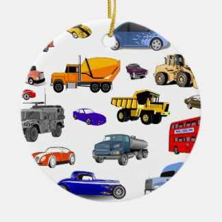 car truck firetruck bulldozer bus race cars more round ceramic decoration