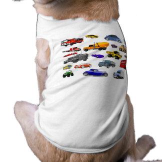 car truck firetruck bulldozer bus race cars more sleeveless dog shirt