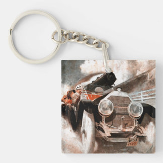 Car vs Train by William Harnden Foster Double-Sided Square Acrylic Key Ring