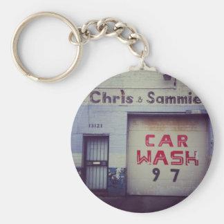 Car Wash Basic Round Button Key Ring