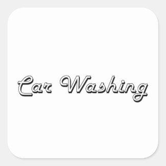 Car Washing Classic Retro Design Square Sticker