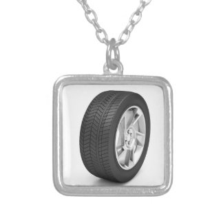 Car wheel silver plated necklace