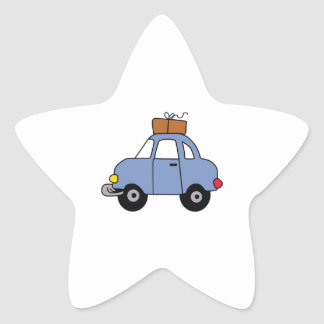 CAR WITH LUGGAGE STAR STICKER