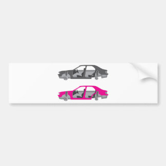 Car with wheels off doors off auto body bumper sticker