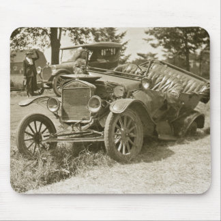 Car Wreck Marine City MI July 1930s - Vintage Mouse Pad