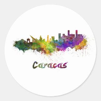 Caracas skyline in watercolor classic round sticker
