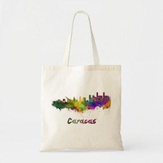 Caracas skyline in watercolor tote bag