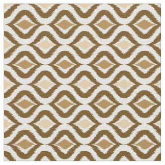 Caramel Coffee Brown Retro Chic Ikat Drops Pattern Fabric