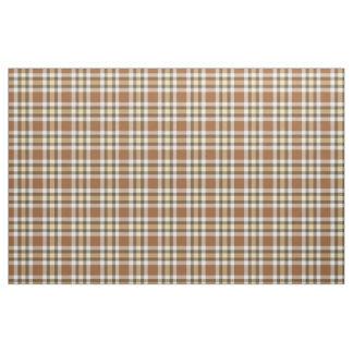 Caramel Dark Brown Yellow Tartan Squares Pattern Fabric