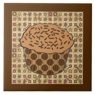 Caramel Frosted Cupcake with Sprinkles Large Square Tile