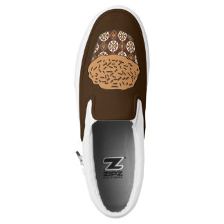 Caramel Frosted Cupcake with Sprinkles Slip-On Shoes