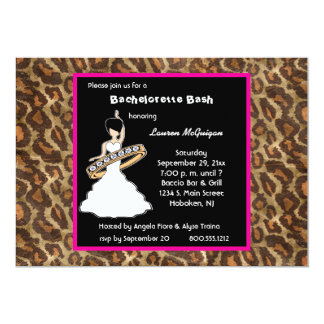 Caramel Fuscia Leopard Party Invitation
