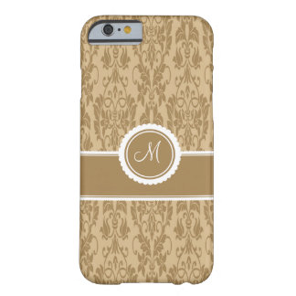 Caramel Monogrammed Damask iPhone 6 case Barely There iPhone 6 Case