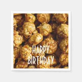 Caramel Popcorn Happy Birthday Paper Napkin