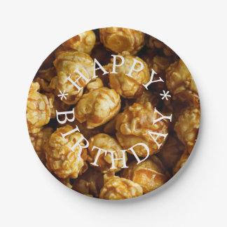 Caramel Popcorn Happy Birthday Paper Plate