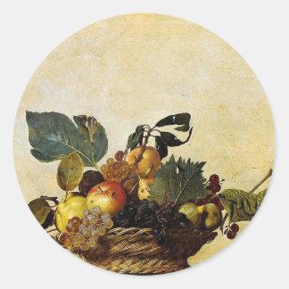 Caravaggio - Basket of Fruit - Classic Artwork Classic Round Sticker