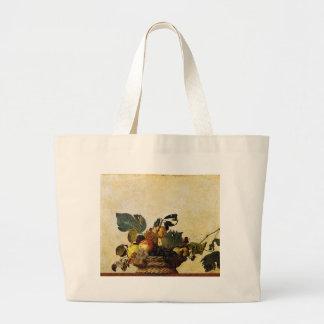 Caravaggio - Basket of Fruit - Classic Artwork Large Tote Bag