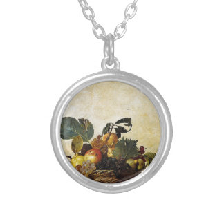 Caravaggio - Basket of Fruit - Classic Artwork Silver Plated Necklace