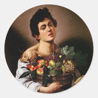 Caravaggio - Boy with a Basket of Fruit Artwork Classic Round Sticker