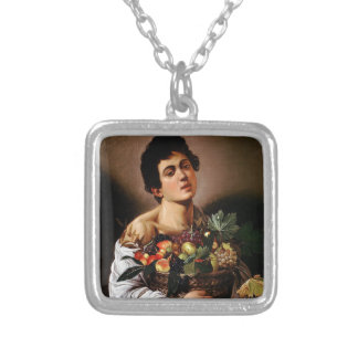 Caravaggio - Boy with a Basket of Fruit Artwork Silver Plated Necklace