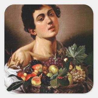 Caravaggio - Boy with a Basket of Fruit Artwork Square Sticker