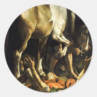 Caravaggio - Conversion on the Way to Damascus Classic Round Sticker