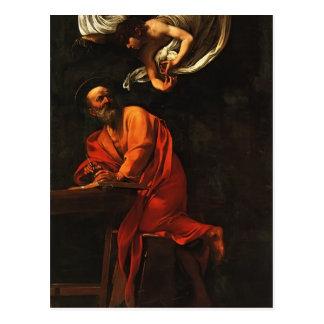 Caravaggio- Inspiration of Saint Matthew Postcard