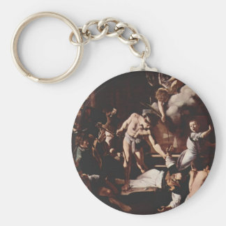 Caravaggio- Martyrdom of Saint Matthew Basic Round Button Key Ring