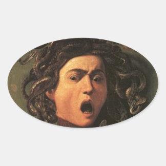 Caravaggio - Medusa - Classic Italian Artwork Oval Sticker