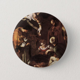 Caravaggio -Nativity with St Francis & St Lawrence 6 Cm Round Badge