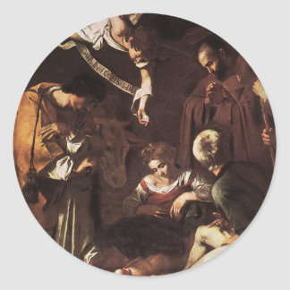 Caravaggio -Nativity with St Francis & St Lawrence Classic Round Sticker