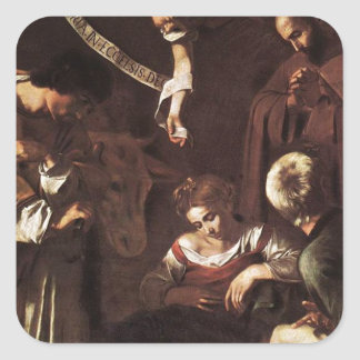 Caravaggio -Nativity with St Francis & St Lawrence Square Sticker