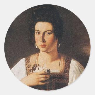 Caravaggio - Portrait of a Courtesan Painting Classic Round Sticker